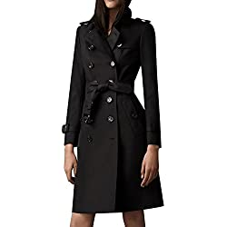 EORISH Women's British Style Elegant Double Breasted Slim Long Trench Coat (Asian L, Black)