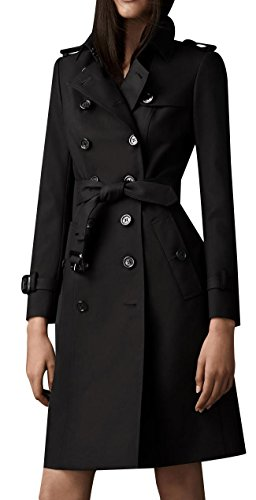 EORISH Women British Double Breasted Slim Long Trench Coat Windbreaker Black L