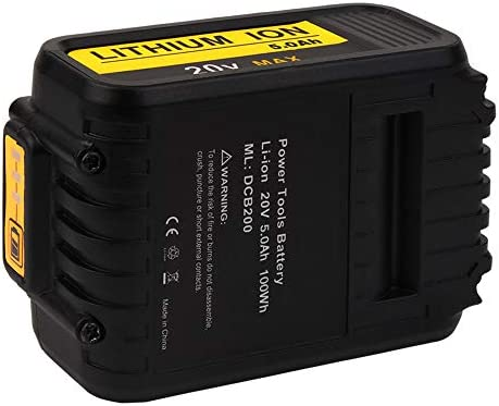 2 Pack DCB200 5.0Ah 20v Replacement Lithium ion Battery for Dewalt 18V 20V DCB184 DCB182 DCB180 DCB181 DCB182 DCB201 DCB205-2 DCB205 DCB203 DCB201-2 with LED Charger Indicator