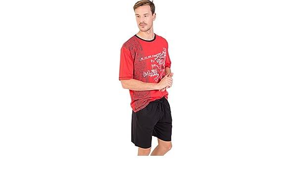 MASSANA Pijama Hombre Verano Algodón P181340-Rojo Intenso: Amazon.es: Ropa y accesorios