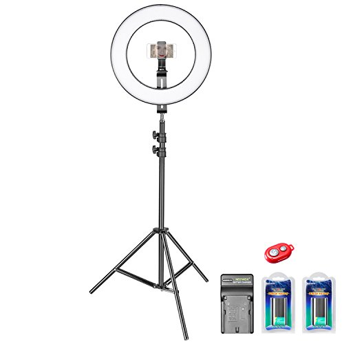 Neewer 14-inch Outer Dimmable Bi-color SMD LED Ring Light Lighting Kit for Smartphone Video Shooting with (1)Light Stand,(1)Ball Head,(1)Phone Holder,(2)Li-ion Battery,(1)Charger,(1)Bluetooth Receiver