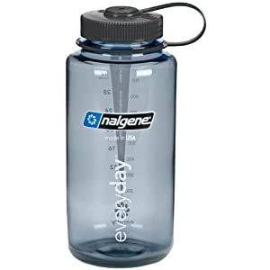 NALGENE Everyday Tritan Wide Mouth Travel Water Bottle - 32 oz (Grey w/Black Cap)