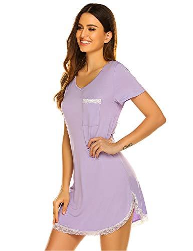 - Ekouaer Womens Sexy Lace Trim Soft Sleepshirt Short Slleve V Neck Nightgown Purple XXL