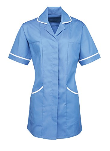 Premier Women's Round Collar Nurses Heathcare Tunic 6 (Uk 8) Mid Blue/White