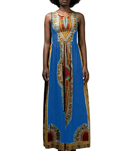 Domple Femmes Vintage Robe Maxi Réservoir De Plage Swing Floral Ethnique Traditionnel Bleu