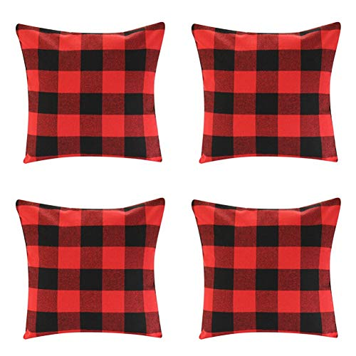 4 Pack Farmhouse Soft Cotton Red Black Buffalo Check Plaids Throw Pillow Cases Decorative Family Indoor or Outdoor Cushion Cover 18x18 inch Christmas Home Decor