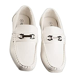 Boys Fashion Loafers Slip on Dress Shoes in White and Black, Sizes Toddlers 6 to Big Boys 8