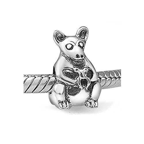 Everbling Mommy Kangaroo Bead 925 Sterling Silver Charm Fits Pandora Charm Bracelet