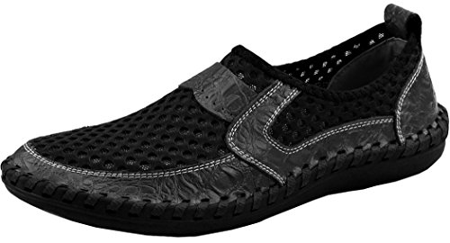 Forucreate Men's Black Loafers Breathable Slip-on Shoes Mesh Comfortable Walking Shoes (Black 41)