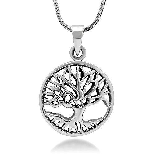 (Chuvora 925 Sterling Silver Tree of Life Symbol Open Round Pendant Necklace, 18 inches)