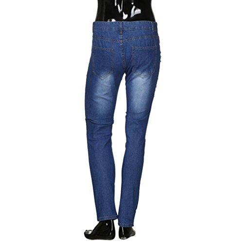 Hombre Slim de Elásticos Baja Rotos Cintura Delgados Vaqueros Vaqueros Largos Pantalones Jeans de Mezclilla Pitillo Claro Azul Fit Pantalones Pantalones Skinny de BEqSxW