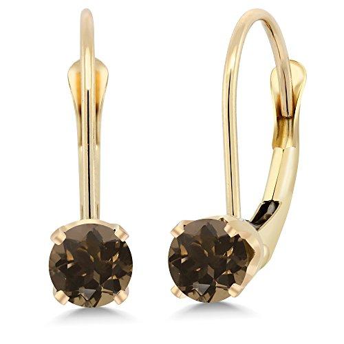 Gem Stone King 14K Yellow Gold 0.52 Ct Round Brown Smoky Quartz Leverback Earrings