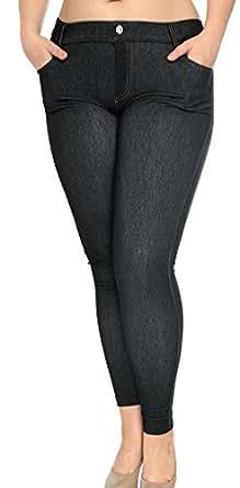 Women's Stretch Jeans Look Leggings Jeggings W/ Pockets, 46_Black, L/XL