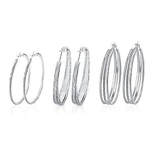 Geerier Scrub Hoop Earrings Set Round Ear Hoop Earrings For Women Girls 3 Pairs/Set