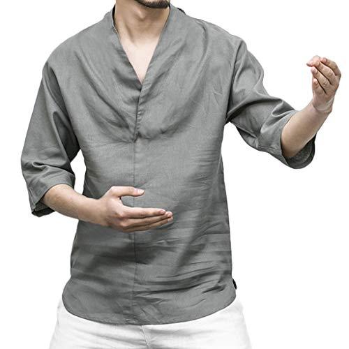 NIUQI Men Linen Patchwork Seven-Minute Sleeve Solid Color Loose V Neck Blouse T Shirt Gray