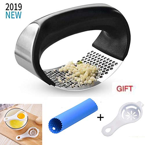 2019 New Design Stainless Steel Garlic Press Rocker - Professional Grade Garlic Mincer Crusher and Garlic Press-With Silicone Garlic Peeler And Egg Separator Filiter Tools For You (Black/Sliver)