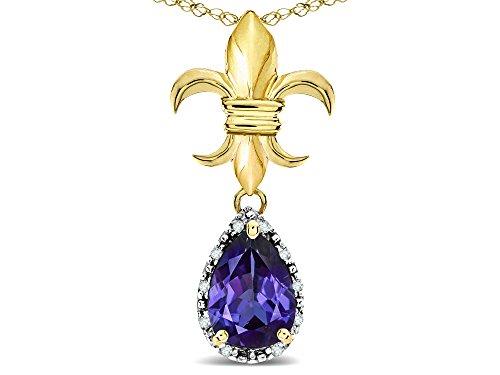 Star K Pear Shape 8x6mm Genuine Iolite Fleur De Lis Pendant Necklace 14k Yellow Gold