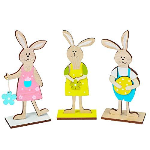 Madera de decoración de conejito de Pascua, juego de 3 soportes de decoración para Pascua, decoración de Pascua para pie…