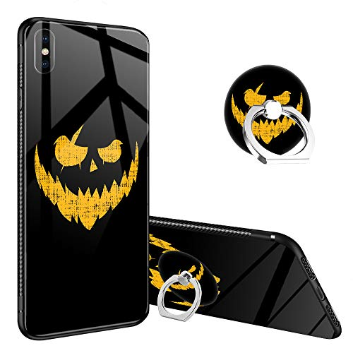 iPhone XR Case,Halloween Pumpkin Creepy Smile iPhone XR Tempered Glass Back Cases with Finger Ring Stand for Girl/Boys, 360°Rotatable Ring Holder Kickstand Fashoin Soft TPU Case for iPhone XR -