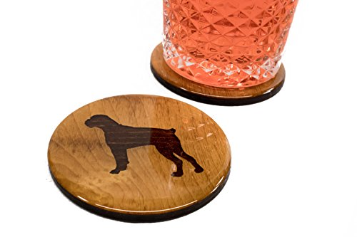 "Premium Bulldog Coasters - 4 Fun Handmade Engraved 3.5"" Round Wooden Natural Home Animal Decoration"