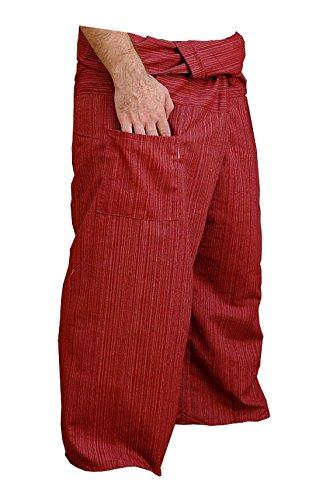 Thai Fisherman Pants Yoga Trousers FREE SIZE Plus Size Cotton Drill Auburn - Auburn Boxer