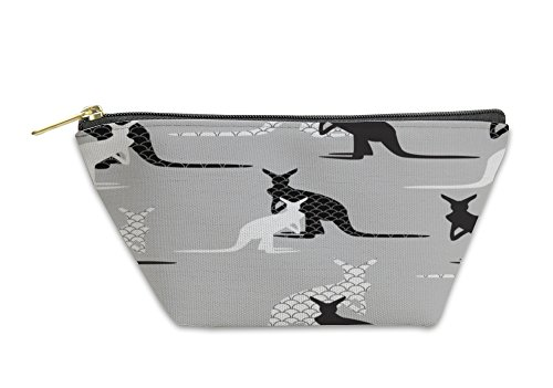 Gear New Accessory Zipper Pouch, Made Of Kangaroo In Black And White Colors, Small, (Kangaroo White Handbag)