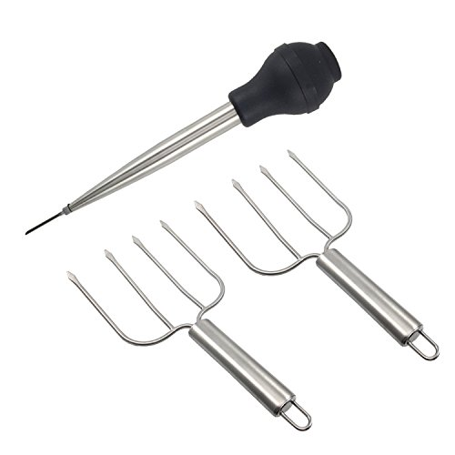 Thanksgiving Turkey Serving Set, Stainless Steel Baster And Turkey Lifter Poultry Forks,3Pcs Set by Rocaware