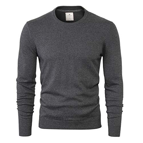 CANALSIDE Men's Wool Cotton Knit Crewneck Sweater Comfortably Fitted,Large,Dim ()