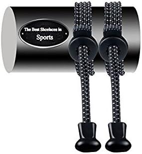 AVIMA Premium SPORTS LACES WITH LOCK Elastic No Tie Shoelaces 2 Pack Black