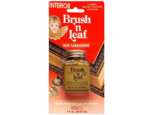 Amaco 1-Ounce Brush and Leaf Interior Metallic Paint, Gold