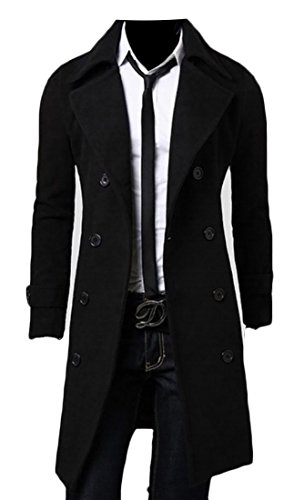 Gnao Men Double-Breasted Lapel Slim Fit Wool Blend Pea Coat Trench Coat Grey S