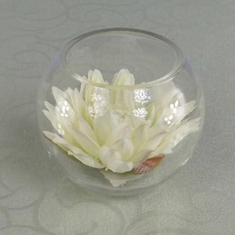 Diseño de nenúfar seda sintética en tamaño pequeño de cuenco de pantalla completo - 10 cm, crema: Amazon.es: Hogar