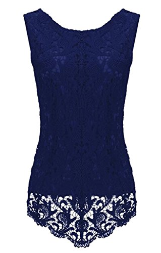 Sumtory Women's Lace Blouse Sleeveless Embroidery Tops Vest Shirt Blouse – Small, NavyBlue