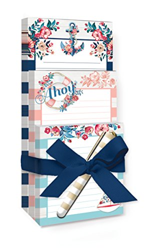 Lady Jayne Note Pad Tri With Pen Seaside Blooms