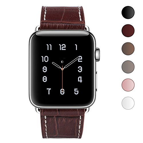 Texture Series (OULUOQI for Apple Watch Band 38mm, Alligator Texture Leather Straps iWatch Band for Apple Watch Series 3 Series 2 Series 1 Sport Edition -Dark Brown)