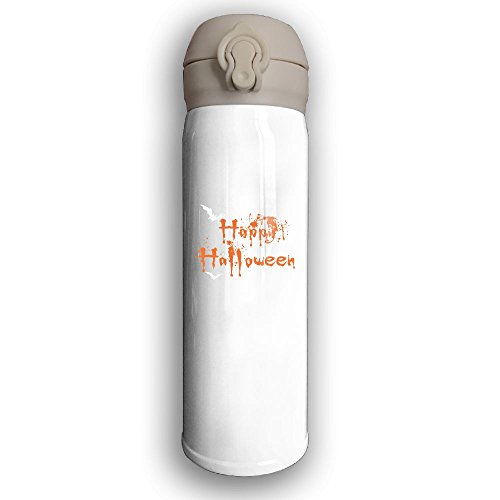 Unique Happy Halloween Thermos Drinkware Stainless Steel Mug With Sport Cap For Outdoor And Sport Activities, 16-Ounce, White