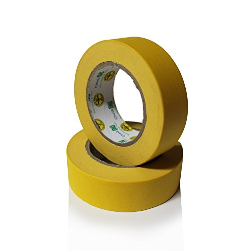 (Insta Finish Performance Yellow Masking Tape (1.5 inch x 60 yards) 1 Case of 24 Rolls - Crepe Paper Industrial Grade - Easy Release Auto Body Tape 1.5