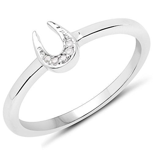 Ring Horseshoe Ladies Diamond (LoveHuang 0.02 Carats Genuine White Diamond (I-J, I2-I3) Horseshoes Ring Solid .925 Sterling Silver With Rhodium Plating)