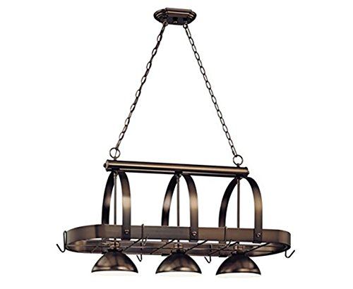 Volume Lighting V3023-79 3 Light Antique Bronze Pot Rack
