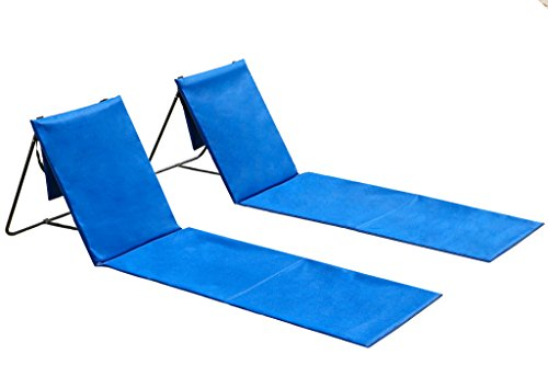 Cleanix Two Beach Chairs with Backrest Use Also As Picnic Or Park Chair - Lightweight, Comfortable, Portable and Easy to Carry Around