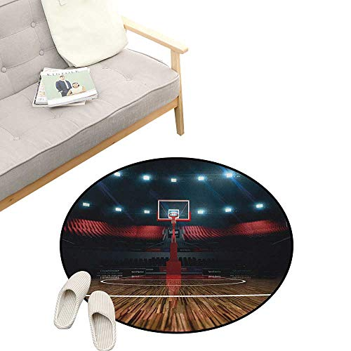 Teen Room Round Rug ,Professional Basketball Arena Stadium Before The Game Championship Sports Image, Flannel Microfiber Non-Slip Soft Absorbent 39