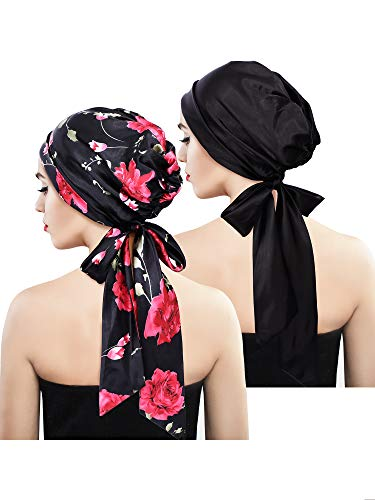 2 Pieces Soft Satin Head Scarf Sleeping Cap Bonnet Headwear Head Cover Turbans for - Lined Wrap Silk