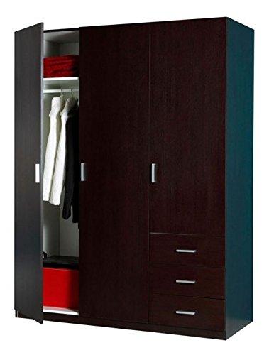 Composad Armadio tre ante e tre cassetti colore wengè AR0456: Amazon ...