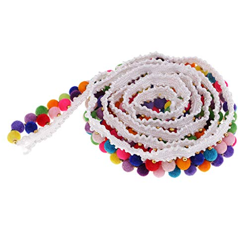 Baosity 1 Yard 20mm Colored Ball Bead Tassel Fringe Trim Ribbon Braid Lace Edging Trimmings for DIY Sewing Garment Decoration Handmade Craft Accessories - White