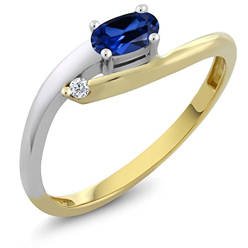 Women's Oval Simulated Sapphire 18K Two Tone Gold Diamond Ring (Size 7) ()