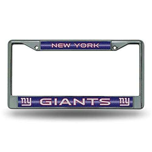Nfl Stainless License Plate - NFL New York Giants Bling Chrome License Plate Frame with Glitter Accent