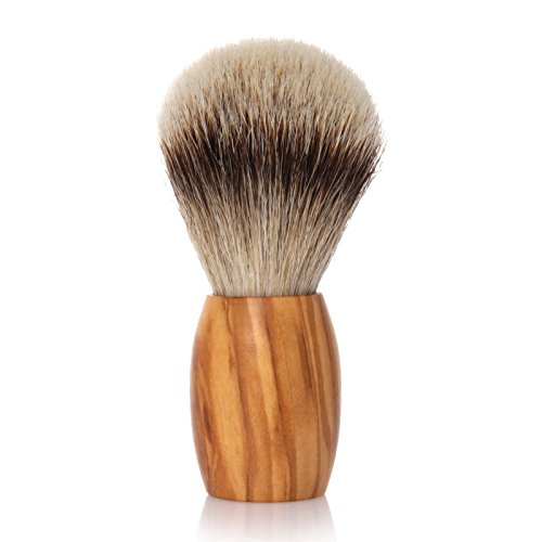 GOLDDACHS Shaving brush, Silvertip, olive wood