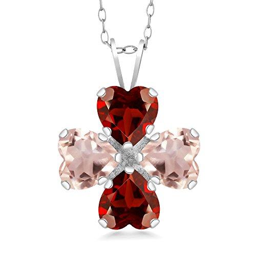 Gem Stone King 3.20 Ct Heart Shape Red Garnet Rose Rose Quartz 925 Sterling Silver Pendant