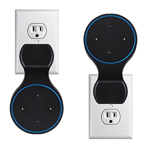 Echo Dot Wall Mount Outlet Holder for 2nd Generation, Amazon Alexa Dot Hanger Bracket Shelf Accesories with Short Charging Cable, Space-Saving for Your Smart Home Speakers-Black by LtMirror