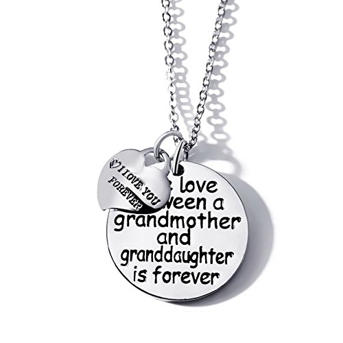 """Reversible Grandma Heart Charm - """"The love between a grandmother and granddaughter is forever""""and"""